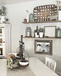 Farmhouse / Shelving / Vignettes / Styling Kitchen Wall Decor Rustic,  Dinning Room Wall Decor