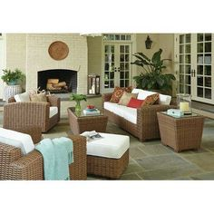 ElanaMar Designs Monaco 5 Piece Seating Group with Cushion Finish: Driftwood, Fabric: Spectrum Sand