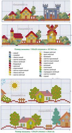Схема вышивания крестиком домика с Обозначениями цветов нитей мулине.
