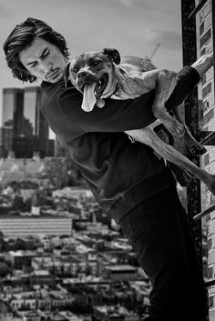 "fashionarmies:  ""'Edge Of Darkness' Adam Driver with his dog Moose by Matthew Brookes for British GQ December 2017.  """