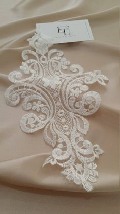 Sequined and Fringe Beaded Applique Gold - Amore Fabrics 5 Colors Available 8X5 2 Pieces