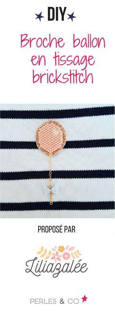 Liliazalée vous propose une jolie broche tissée avec des perles Miyuki Delicas sur un thermocollant pailleté. Ce tissage apportera une touche de douceur et de poésie à votre tenue. Grâce à ce tuto, vous pourrez découvrir la technique du brickstitch avec des perles Miyuki Delicas. Pour les débutant(e)s, n'hésitez pas à lire notre fiche technique pour apprendre comment faire un tissage en brick stitch avec augmentation et réduction? #brickstitch #miyuki #tissage #diy #tuto #ballon #noeud