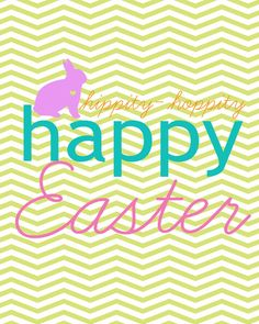 Chevron Happy Easter free printable from Laura Winslow!