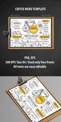 Coffee Menu Template PSD, Vector EPS. Download here: https://graphicriver.net/item/coffee-menu-template/16973755?ref=ksioks