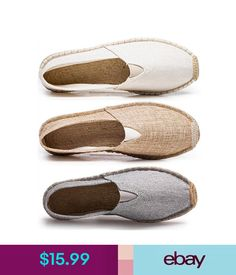 c55a2bb3a35 Casual Summer Mens Hemp Canvas Fisherman Shoes Straw Loafers Espadrille  Driving Shoes  ebay  Fashion
