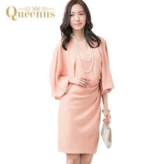 ==> [Free Shipping] Buy Best Queenus 2017 Women Dress Day Work Wear Elegant Party Dresses Knee Length Ruffles Sleeve Asymmetric Pleat Women Bodycon Dresses Online with LOWEST Price | 32813533909