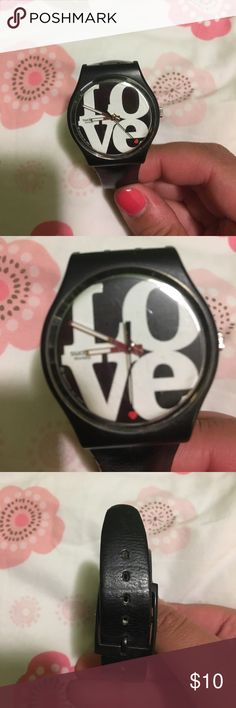 Black leather Love swatch Black leather band with white letters. Dial is a red heart Swatch Jewelry
