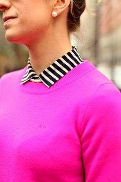 JCrew monogrammed sweater + pearls More pink with a touch of black and white stripes, I would probably do navy stripes or checks