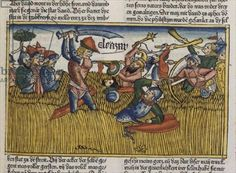 I Chronicles 11 13 Eleasar at Pasdammim slaying the Philistines,  from the 'Nuremberg Bible (Biblia Sacra Germanaica)' (coloured woodcut), 1483