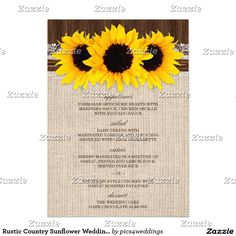 Rustic Country Sunflower Wedding Menu Templates
