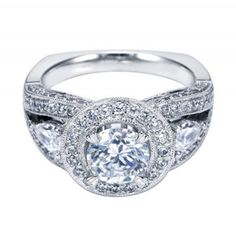 Love this look! 14K White Gold Halo 3-Stone Engagement Ring