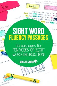 Sight Word Fluency Passages For Reading Intervention and Distance Learning Fluency Activities, Phonics Games, Spelling Activities, Sight Word Activities, Word Reading, Teaching Sight Words, Word Building, Flashcard, High Frequency Words