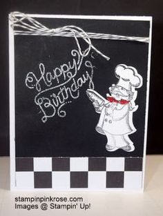 Stampin' Up!   Birthday card made with Birthday Delivery stamp set and designed by Demo Pamela Sadler. Do you know a chef?  This one is perfect for the chef or cook.  You can make so many critters with this stamp set. See more cards at stampinkrose.com and etsycardstrulyheart