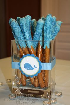 baby boy dipped pretzel rods - Google Search