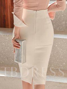 Material: Nylon Silhouette: Bodycon Skirt Length: Knee-Length Waist Line: High-Waist Pattern: Plain Embellishment: Patchwork,Zipper,Bowknot Season: Spring * Size Length Waist Hips cm inch cm inch cm inch S 62 60 80 M 63 64 84 L 64 68 88 XL 65 72 92 * African Fashion, Korean Fashion, Hijab Fashion, Fashion Dresses, Body Con Skirt, Feminine Dress, Professional Outfits, Dress Skirt, Midi Skirt