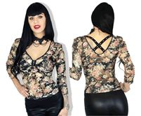 Demi Loon - Lacette Gothic X-Back Sweetheart Blouse- Multi