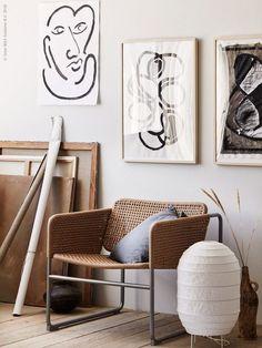 Ikea INDUSTRIELL Armchair - HOVSTA Frame - STORUMAN Floor Lamp - VIGDIS Cushion Cover - Anna Lenskog Belfrage