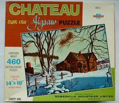 Vintage Somerville Industries Jigsaw Puzzle - 460 pieces - Country Home in Winter - Made in Canada - Sealed Box Jigsaw Puzzles, Industrial, Canada, Country, Cats, Box, Winter, How To Make, Vintage