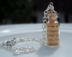 Message in a Bottle Personalised Glass Vial Pendant Necklace