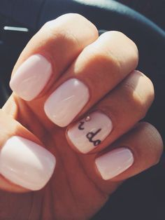 http://rubies.work/0663-ruby-rings/ The cutest wedding nails! So simple, yet so sweet. #iDo #weddingnails