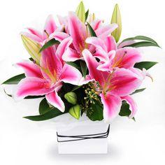 Urban Oriental - a sweet arrangement of pink oriental lilies