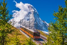 Mountain Train in front of Matterhorn Peak jigsaw puzzle in Great Sightings puzzles on TheJigsawPuzzles.com