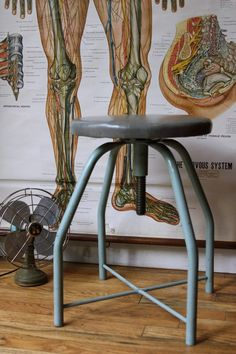 Vintage industrial stool from a doctor's office. It was made by Seng Chicago and it measures by and is adjustable up to and the seat swivels. Industrial Stool, Industrial House, Rustic Industrial, Industrial Furniture, Vintage Furniture, Industrial Design, Furniture Design, Industrial Industry, Vintage Stool