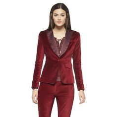 Britta, this is a velvet suit that Altazurra makes for Target! Ruby Red.