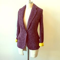 Cartonnier {Anthropologie} tweed boyfriend blazer Classic boyfriend jacket with a twist from Anthropologie brand, Cartonnier.  Rich purple, thick tweed-style knit body. Lining is a contrast mustard yellow.  One button closure. long, slim sleeves that are great rolled up! (as shown). Fully lined. Size L, fits a 10/12 best. Anthropologie Jackets & Coats Blazers