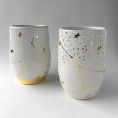 Constellation Mug in White and Gold  Constellation Tumbler