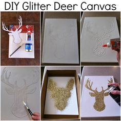 DIY glitter canvas... definitely doing this. definitely not making a dear though