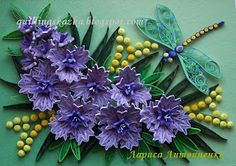 Quilled flowers with a dragonfly