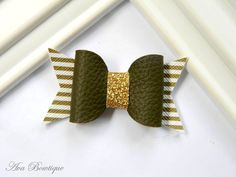 Fall Bow Hair Clip - Baby Hair Bow - Olive Bow Hair Clip - Baby Bow Hair Clip…