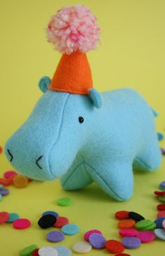 Hippo on Parade sewing pattern, felt hippo, hippo plush, hippo softie
