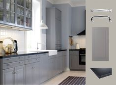 Kök med grå lådfronter, luckor, vitrinluckor och svart bänkskiva