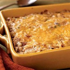Hash Brown Casserole with Bacon, Onions, and Cheese (from cooking light- under 300 calories... can further cut calories by using lowfat cheese and/or turkey bacon)