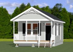 1-Bedroom 1-Bath home with cooktop & under cabinet washer/dryer unit. Sq. Ft: 480 (53.33m2) 16x30 Tiny House -- #16X30H5 #grannyflats #singlestoreyhomeplans