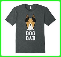Mens Dog Dad Collie - Fathers Day T-Shirt Large Dark Heather - Holiday and seasonal shirts (*Amazon Partner-Link)