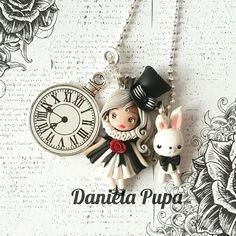 #aliceinwonderland #gothiclolita #necklace  #danielapupa #polymerclay #handmade #jewels #doll #dollstagram #fimo #clay #claydoll