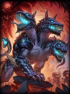 Cerberus- Three Headed Hound, Warden of the Underworld & Enforcer of Hades Fantasy Wolf, Fantasy Beasts, Fantasy Dragon, Dark Fantasy Art, Fantasy Artwork, Mythical Creatures Art, Mythological Creatures, Magical Creatures, Dark Creatures