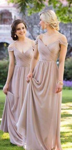 bridesmaid dresses, long bridesmaid dresses, grey chiffon long bridesmaid dresses, 2018 bridesmaid dresses, wedding party dresses