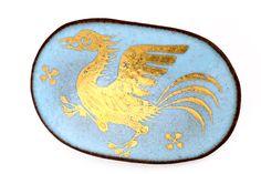 Antique German Brooch Phoenix Bird Germany Pin Porcelain Blue Gold Vintage Art
