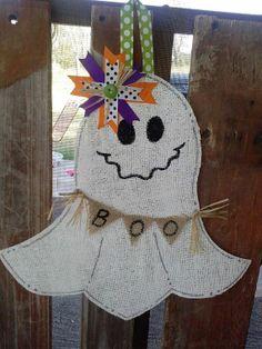 Ghost Burlap Door Hanger by PrettyLilThings04 on Etsy, $30.00