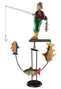 Antiqued-Fly-Fisherman-21-Sky-Hook-Tetter-Totter-Tin-Metal-Balance-Toy-Figurine