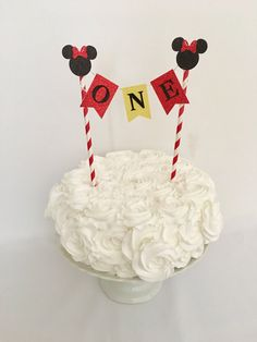 Mickey Mouse First Birthday Cake Topper Mickey Mouse Cake Bunting