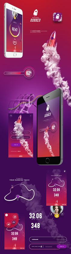 Rocket Runner App - with this app you can monitoryour progress in running. Page Layout Design, Web Design, App Ui Design, Mobile App Design, Mobile Web, Gui Interface, User Interface Design, Ui Inspiration, Running Inspiration