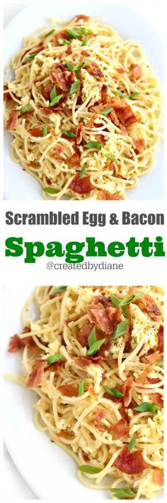 scrambled egg and bacon spaghetti perfect brinner food from @createdbydiane