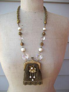 Vintage Necklace Purse Necklace Vintage Assemblage by rebecca3030, $169.00