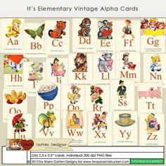 It's Elementary Vintage Alpha Cards by Baers Garten Designs - Two Peas in a Bucket