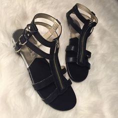 "Black Michael Kors Sandals with Silver Zippers ✅ Brand New And Never Worn Michael Kors Sandals with Silver Accented Zipper ✅ Size 7.5 - True to Size  ✅ Small Platform Heel 1/2"" in size. MICHAEL Michael Kors Shoes Sandals"